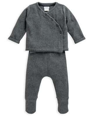 2 Piece Charcoal Knit Wrap Set