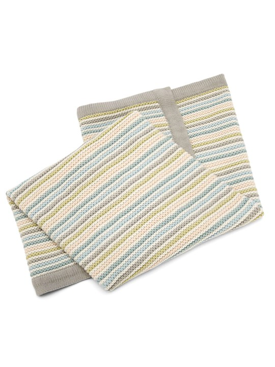 Small Knitted Blanket - Stripe Pastel image number 4