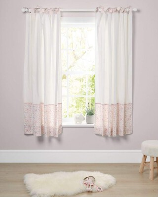 Lilybelle Tie Top Curtains (132x160cm) - Pink