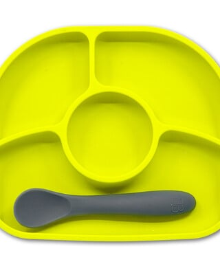 BBLuv Yumi Anti-Spill Silicone Plate & Spoon Set - Lime