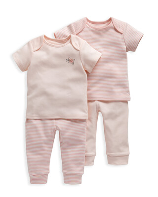 Pink Stripe Pyjamas 2 Pack