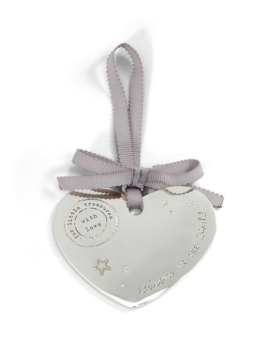 Welcome to the World  -  Silver Plated Hanging Heart image number 1