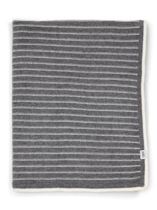 Knitted Blanket - 70 x 90cm - Grey Stripe image number 2
