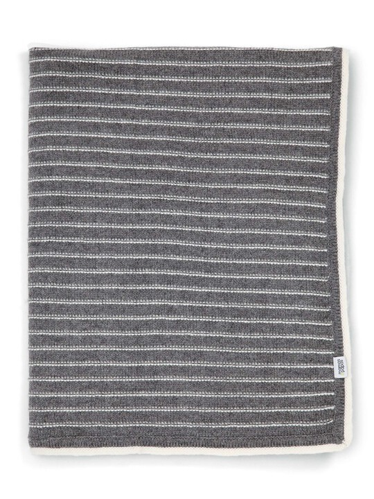 Knitted Blanket - 70 x 90cm - Grey Stripe image number 1