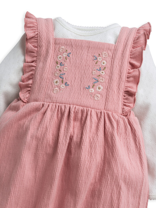 Embroidered Dungaree & Top 2 Piece Set image number 5