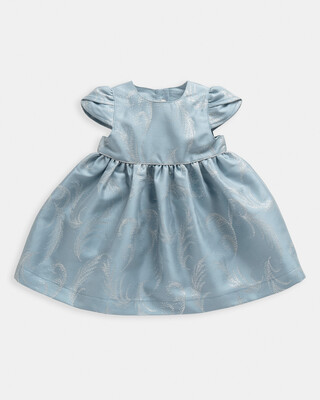 Feather Print Jacquard Bodice Dress