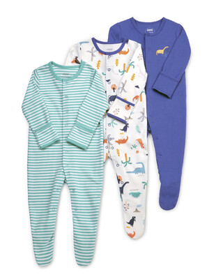 3 Pack Dino Sleepsuits