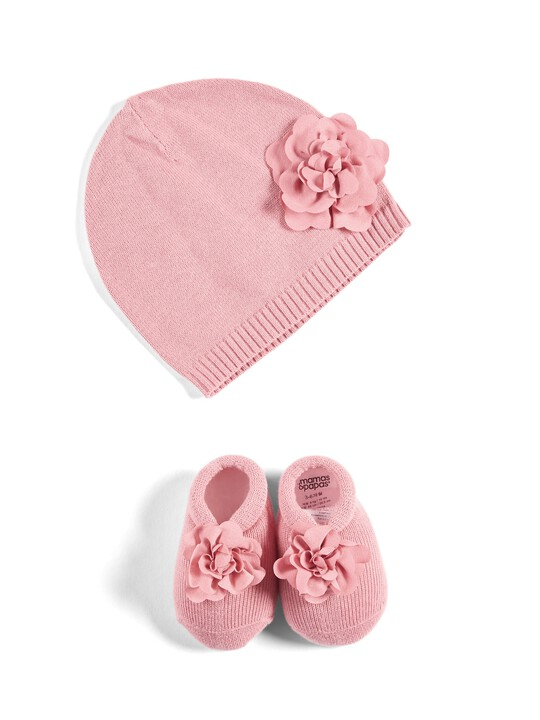 Knitted Striped Hat & Booties image number 1
