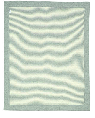 Knitted Blanket - Grey & White Stripe
