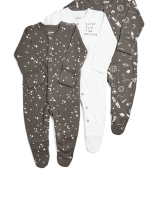 Pack of 3 Space Sleepsuits