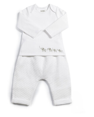 Textured Jersey Bottoms & Bodysuit - 2 Piece Set