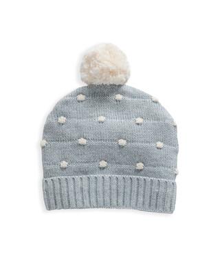 Grey Knitted Pom Pom Hat
