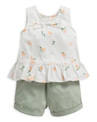 2 Piece Floral Print Top & Shorts Set