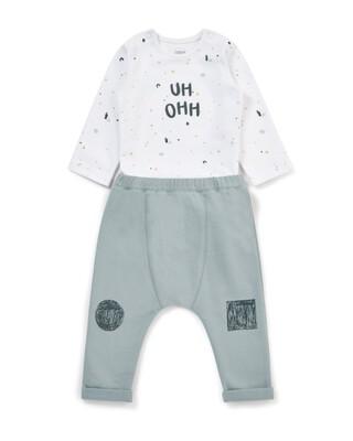Printed Wrap Bodysuit & Jogger Set