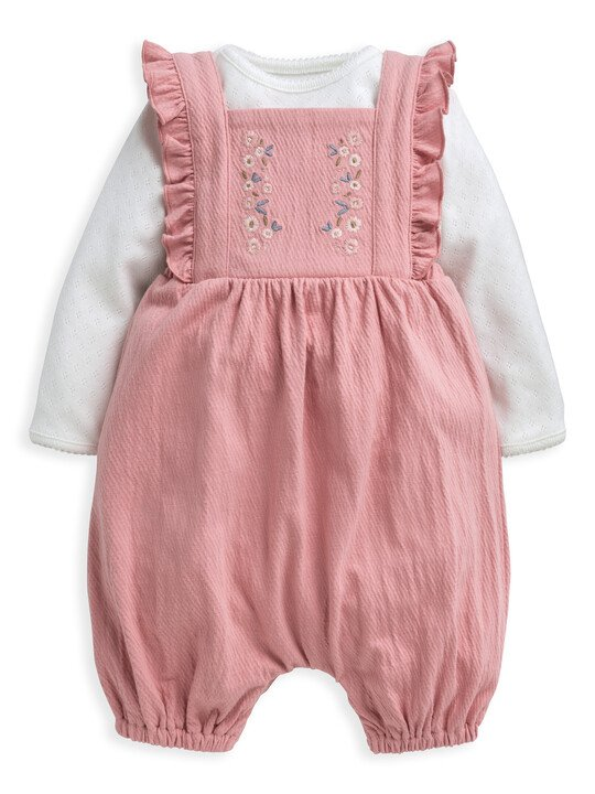 Embroidered Dungaree & Top 2 Piece Set image number 1