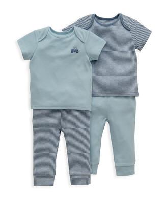 Blue Stripe Jersey Pyjamas 2 Pack