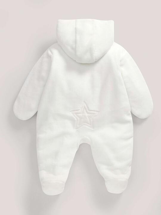 Soft Faux Fur Star Design Pramsuit Sand- 0-3 image number 3