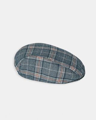 Blue Check Flat Cap