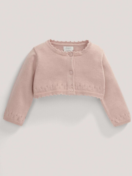 Pointelle Detail Knit Cropped Cardigan Pink- 0-3 image number 1